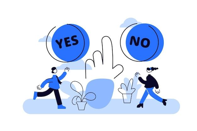 Escoger . concepto de personas de proceso de elección de opciones diminutas planas.