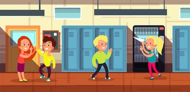 Escolares en el pasillo de la escuela en la caricatura de la puerta del aula