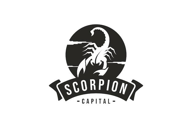 Escorpión logo vector diseño de escorpio en logo vintage