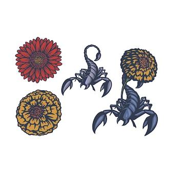 Escorpión vintage con vector de dibujos animados de flores vector premium