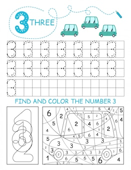 Escriba los números 3. tres hojas de trabajo de rastreo con autos para niño. hoja de trabajo preescolar, practicando habilidades motoras: trazado de líneas discontinuas.