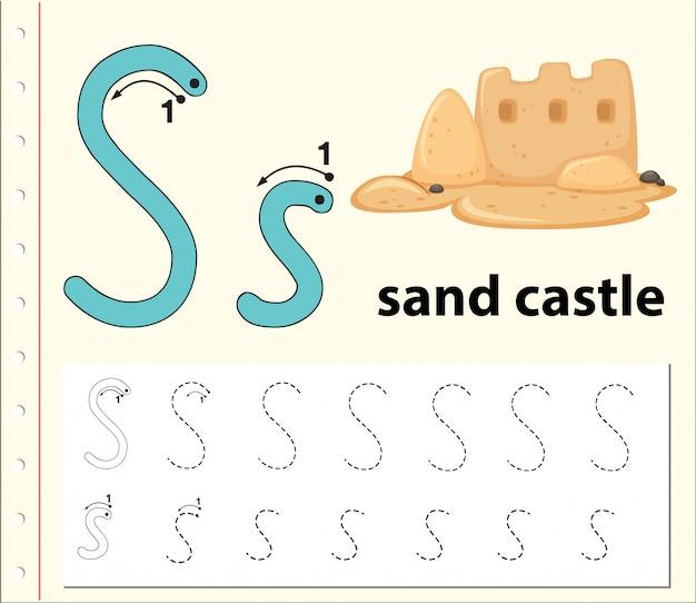 Escribe la letra s del castillo de arena.