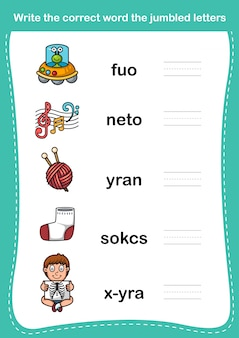 Escribe la palabra correcta las letras mezcladas