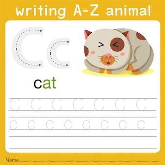 Escribiendo az animal c