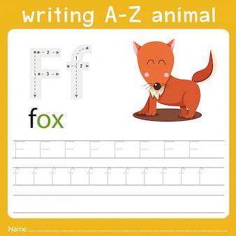 Escribiendo az animal f