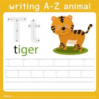 Escribiendo az animal t