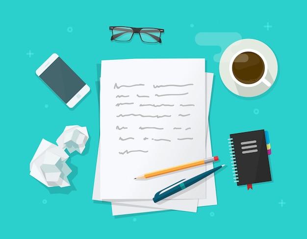 Escribir una carta o artículo sobre la ilustración de la mesa del escritorio del lugar de trabajo del autor del escritor