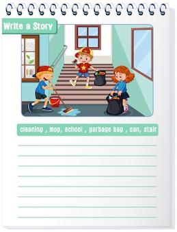 Escribir un copyspace de la ilustración de la historia de limpieza