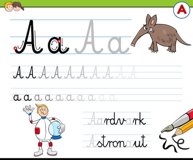 Escribir la letra a hoja de trabajo para niños