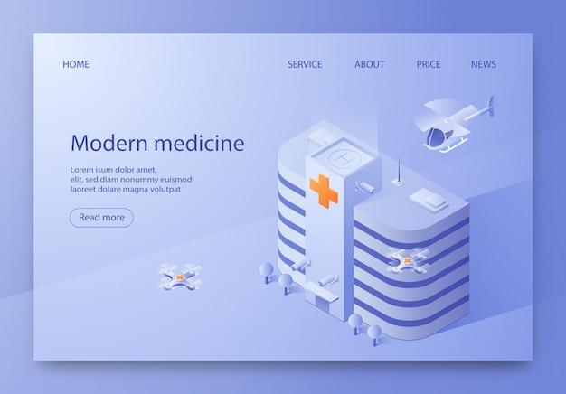 Escrito ilustración moderna medicina isométrica.