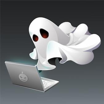 Escritor fantasma que trabaja delante de la computadora portátil
