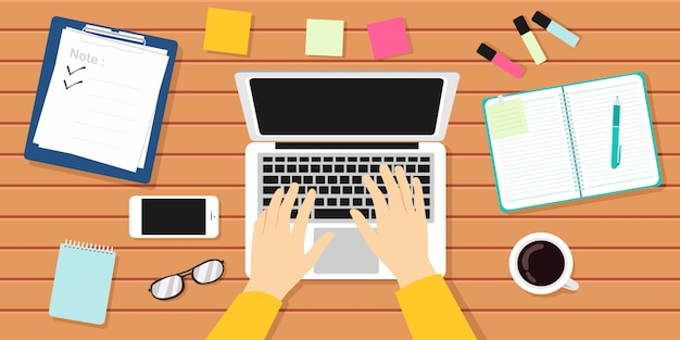 Escritor ilustración de vector de lugar de trabajo. autor, periodista, ordenador portátil