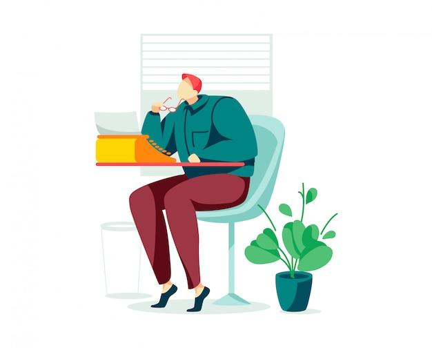 Escritor de personajes masculinos profesional, máquina de escribir hombre sentado, historia literaria afición, historia fantástica aislado en blanco, ilustración de dibujos animados.