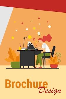 Escritora con máquina de escribir retro. mujer joven inspiradora con idea, escribiendo artículo creativo en su lugar de trabajo. ilustración de vector de crisis creativa, redacción publicitaria, concepto vintage