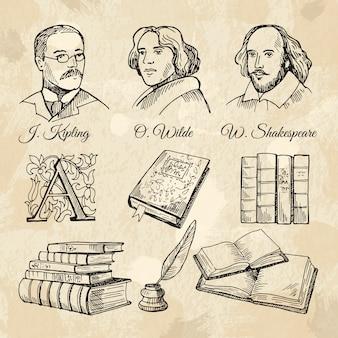 Escritores ingleses famosos y diferentes libros.