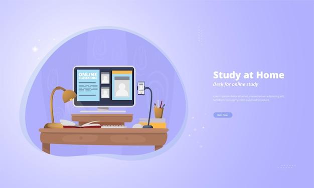 Escritorio de configuración para estudiar en casa concepto de ilustración