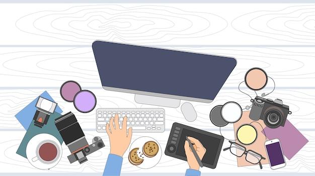 Escritorio del diseñador escritorio del espacio de trabajo