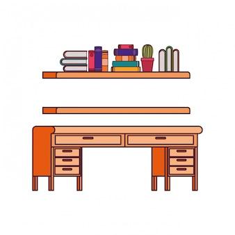 Escritorio y estantería con pila de libros.
