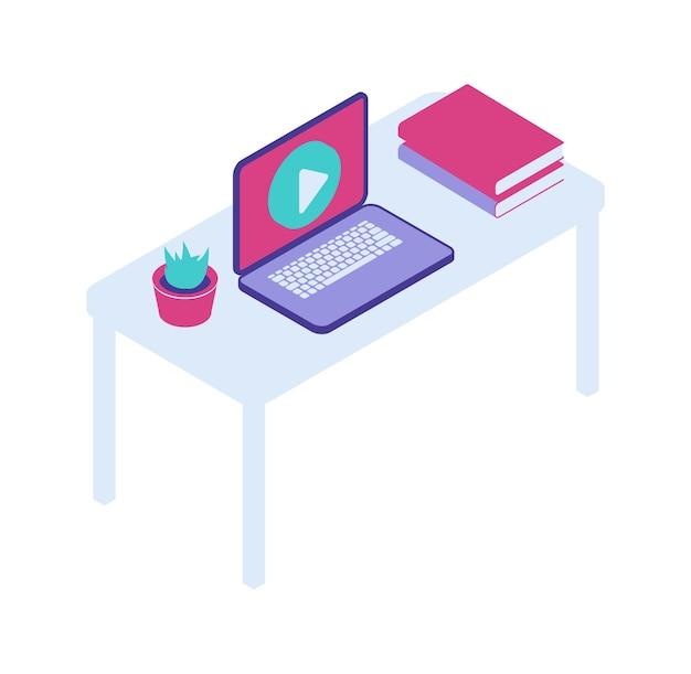 Escritorio con icono de vector isométrico de portátil abierto, oficina en casa, trabajo remoto