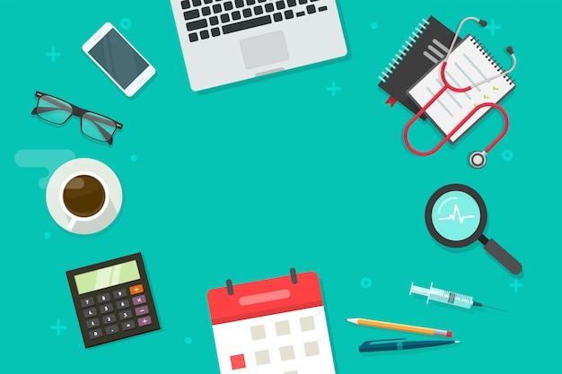 El escritorio de la mesa de trabajo vacío médico o médico pone la vista superior para copiar el texto del espacio
