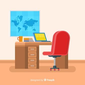 Escritorio moderno de oficina con diseño plano