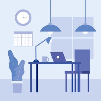 Escritorio de oficina con diseño de computadora portátil y silla, fuerza laboral de objetos comerciales y tema corporativo