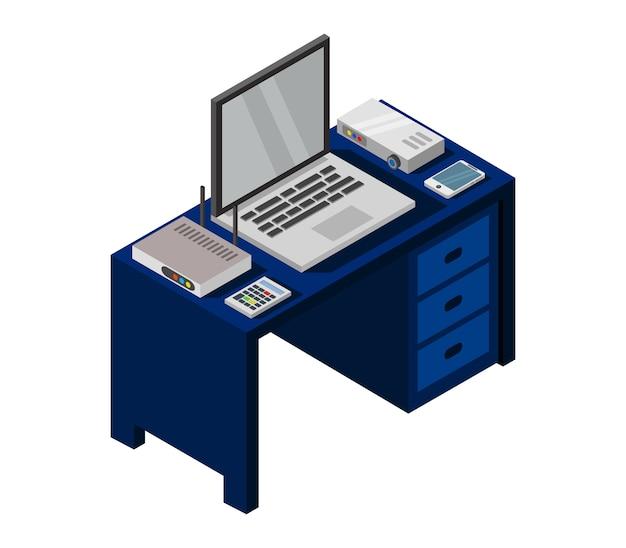 Escritorio de oficina isométrica con laptop
