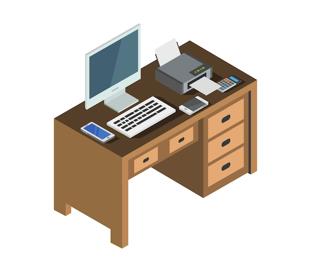 Escritorio de oficina isométrica