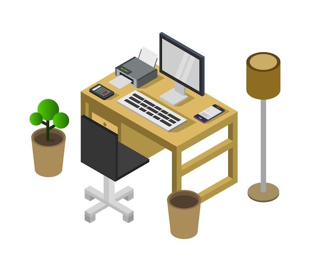 Escritorio de oficina isométrico