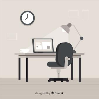 Escritorio de oficina moderno con diseño plano