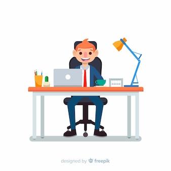 Escritorio de oficina moderno con hombre de negocios de diseño plano