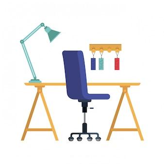 Escritorio de oficina con silla en blanco