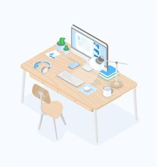 Escritorio con pantalla de computadora, lámpara de mesa, auriculares, teclado, mousepad, taza y silla aislada en blanco