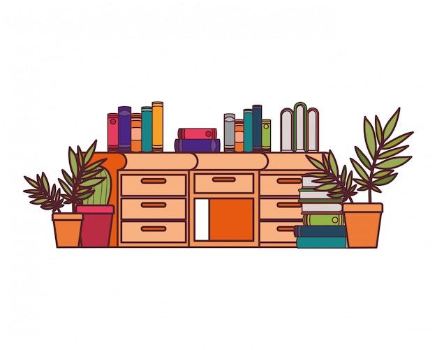 Escritorio con pila de libros.