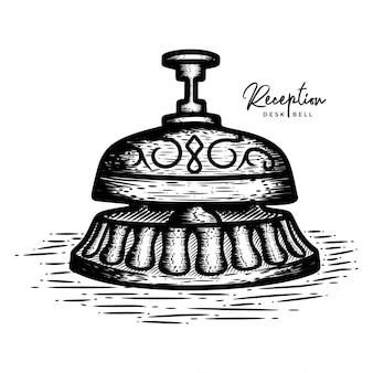 Escritorio de recepción dibujado a mano campana