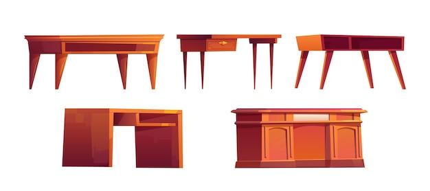 Escritorios de madera vacíos para trabajar en la oficina o el gabinete del hogar aislado en blanco