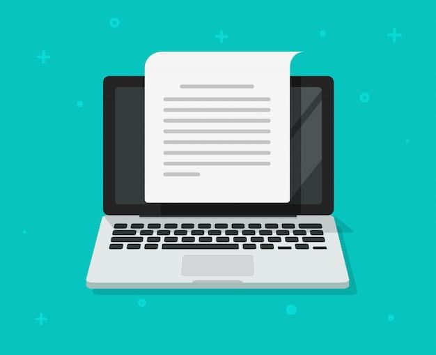 Escritura de documentos de texto o creación de contenido de cartas en computadora portátil de dibujos animados plana