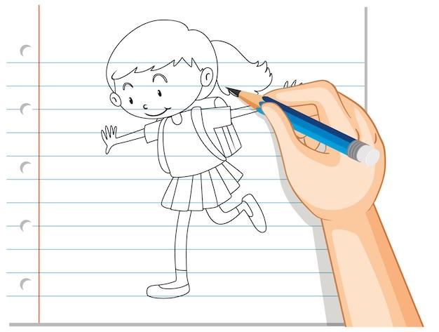 Escritura a mano de contorno de chica estudiante