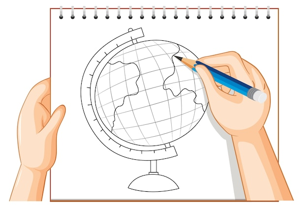 Escritura a mano del esquema del modelo de globo