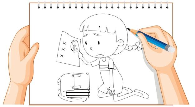 Escritura de la mano de la niña tiene un mal contorno de marca de examen