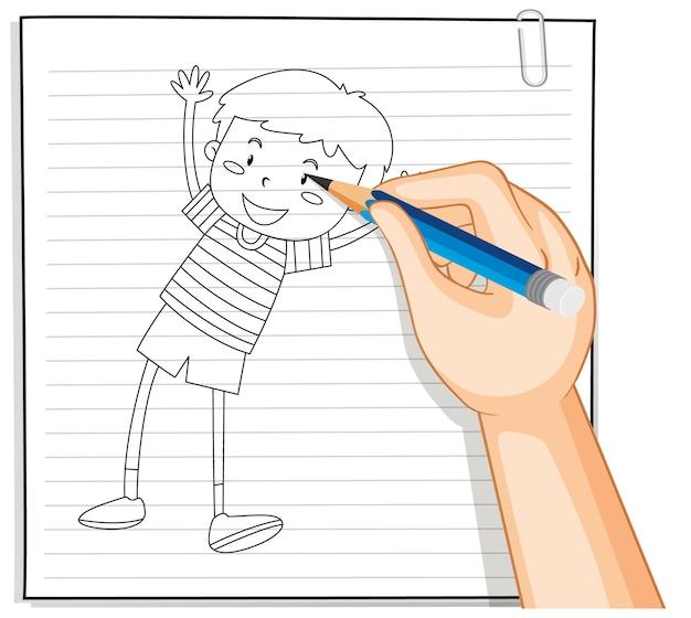 Escritura a mano de niño bailando contorno