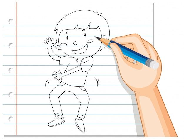 Escritura de la mano del niño bailando esbozo