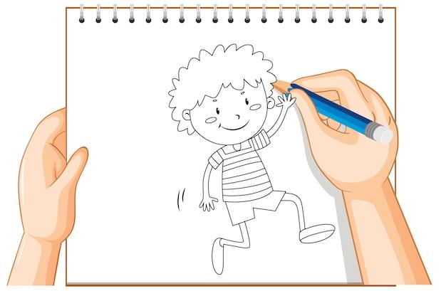 Escritura a mano de niño feliz saludando a alguien contorno