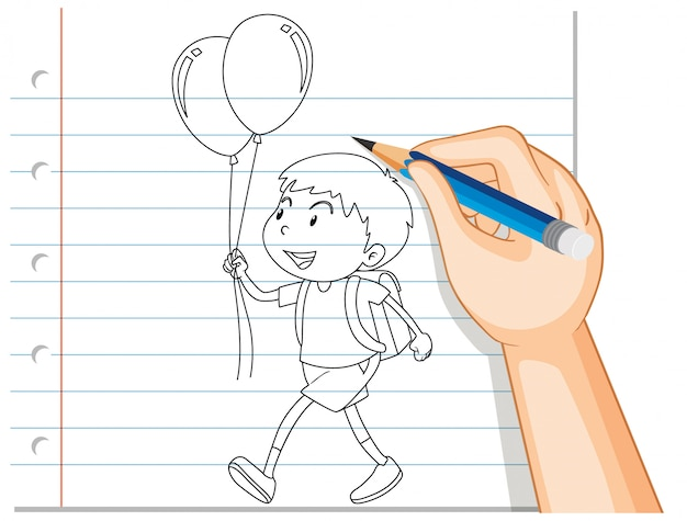 Escritura a mano de niño sosteniendo globo