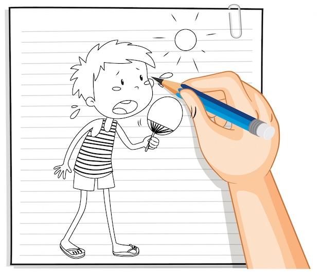 Escritura a mano de niño sosteniendo ventilador en esquema de clima de verano
