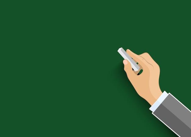 Escritura a mano con tiza.