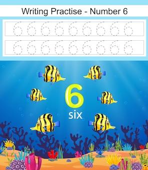La escritura practica el número 6 con hermosos peces.