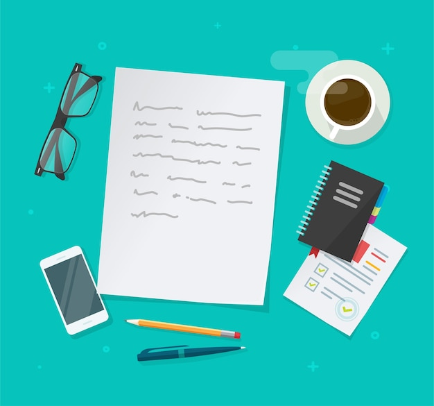 Escritura de vector de contenido de texto en la mesa de trabajo de educación anterior, documento de ensayo, trabajo de investigación de periodismo plano, escritorio de autor o editor con gafas, bolígrafo, imagen de taza de café