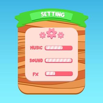 Escritura verde de dibujos animados en el panel de configuración emergente de interfaz de usuario de la aplicación móvil con dibujos de madera vector premium