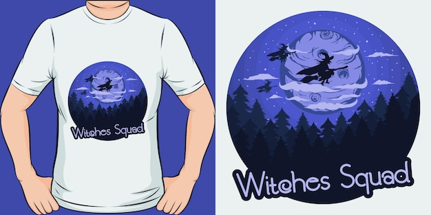 Escuadrón de brujas. diseño de camiseta único y moderno